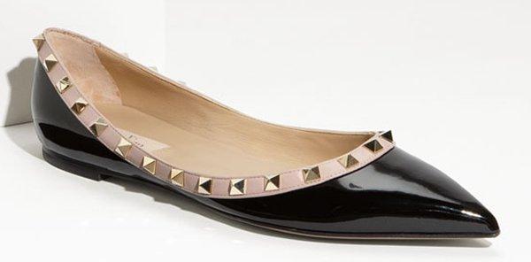Valentino Rockstud Ballet Flats Black Patent