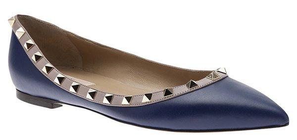 Valentino Rockstud Ballet Flats Navy Leather