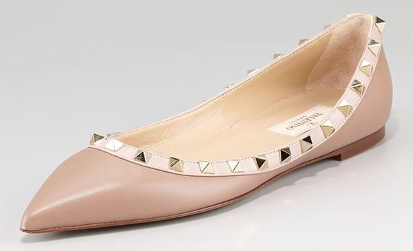Valentino Rockstud Ballet Flats Nude Leather