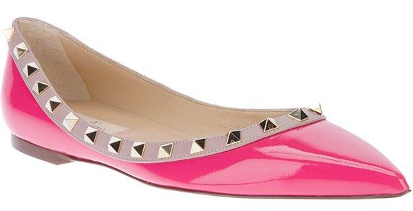 Valentino Rockstud Ballet Flats Pink Patent