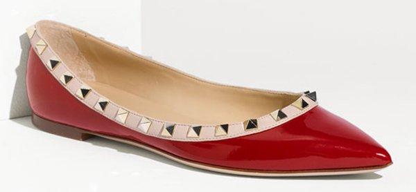 Valentino Rockstud Ballet Flats Red Patent