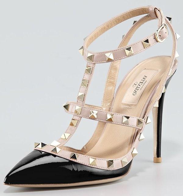 Valentino Rockstud Noir Patent Sandals