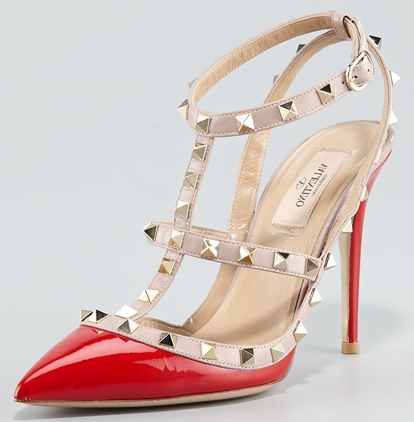 Valentino Rockstud Two-Tone Patent Sandals Red