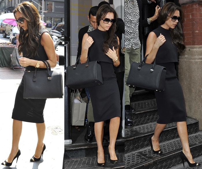 Victoria Beckham wearing a sleeveless top and a pencil skirt from her own line with Giuseppe Zanotti pumps