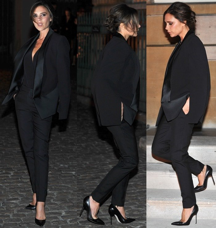 Victoria Beckham wearing a menswear-inspired suit from her Fall 2013 collection