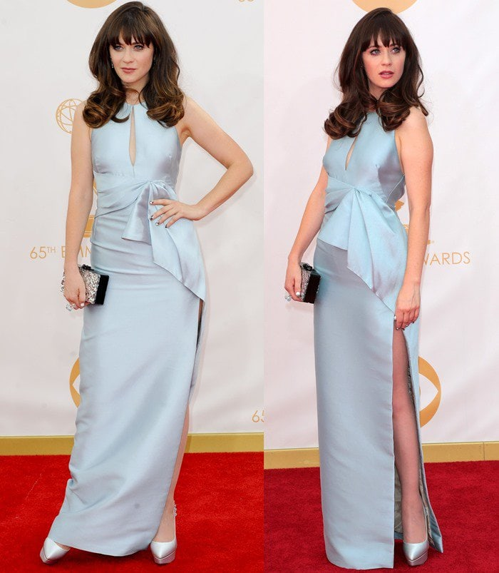 Zooey Deschanel wears a monochromatic outfit at the 2013 Emmy Awards