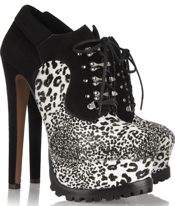 ALAÏA - Animal-print calf hair and suede ankle boots