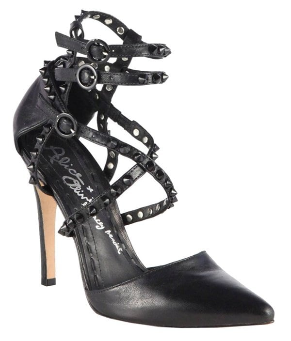 Alice + Olivia Studded Ankle-Wrap Pumps