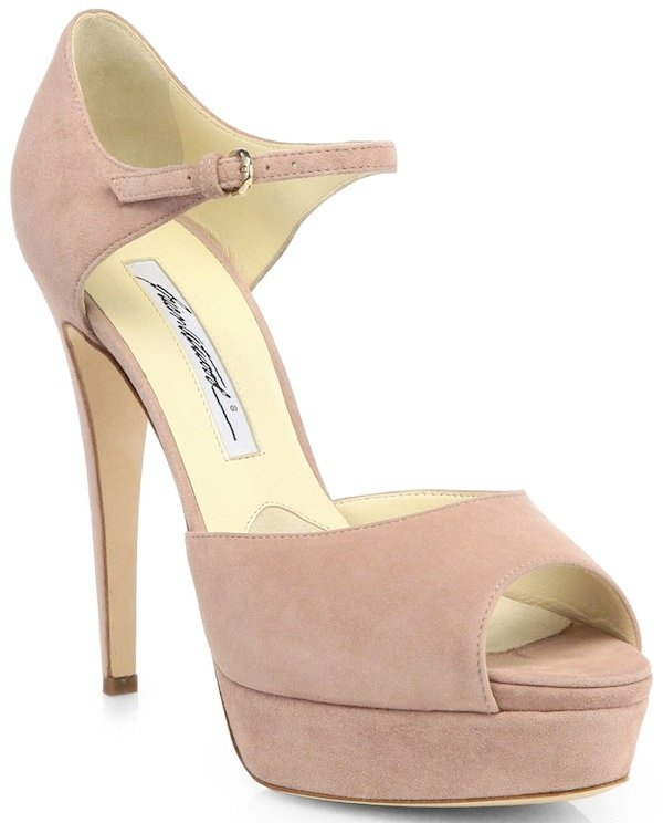 Brian Atwood 'Tribeca' Suede Platform Sandals in Nude