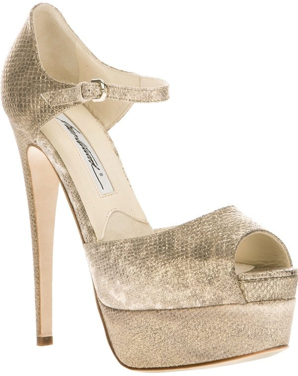 Brian Atwood 'Tribeca' Platform Sandals in Gold
