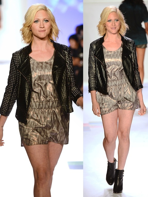Brittany Snow walking the Just Dance with Boy Meets Girl runway in black booties during the Spring 2014 Mercedes-Benz Fashion Week in New York City on September 12, 2014