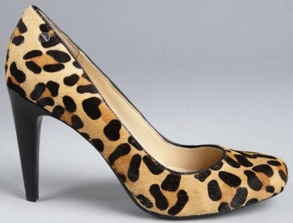Calvin Klein Animal Tan Leopard Print Calf Hair Pumps
