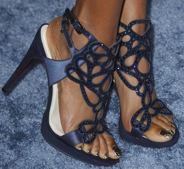 Taraji P. Henson's naked feet inCesare Paciotti shoes