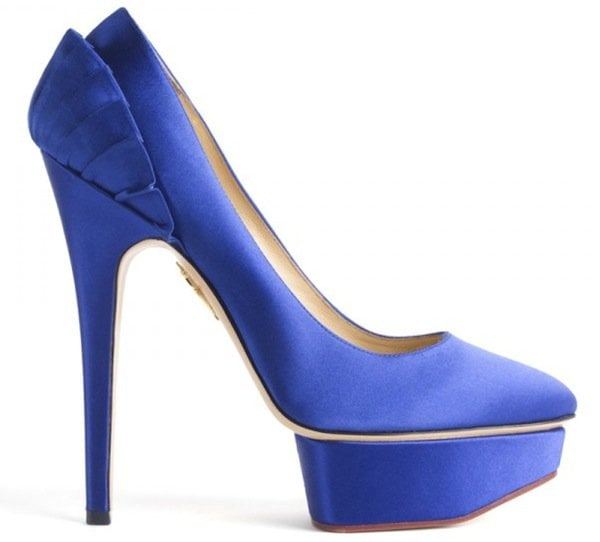 "Charlotte Olympia ""Paloma"" Satin Platform Pumps in Blue"