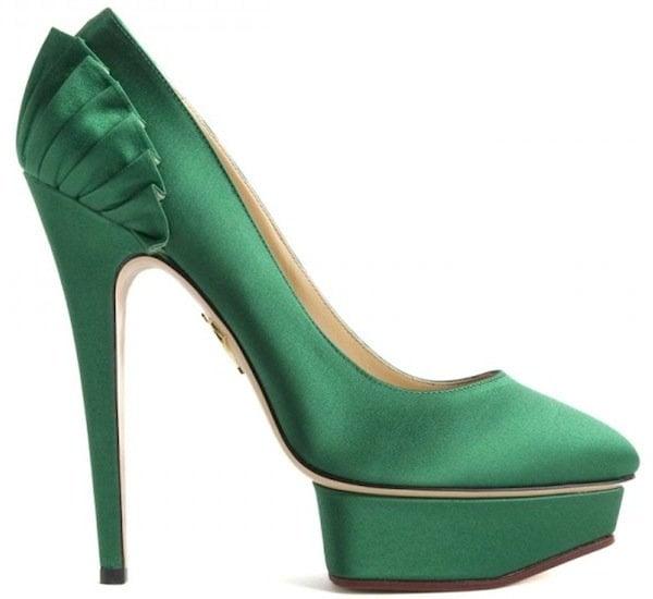 "Charlotte Olympia ""Paloma"" Satin Platform Pumps in Green"