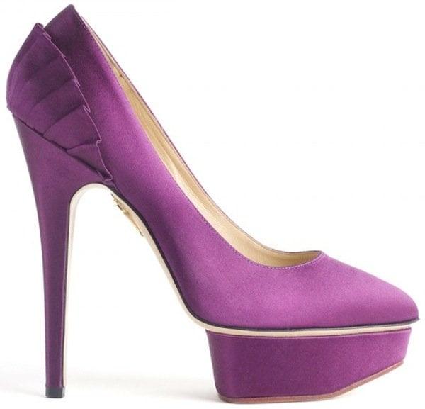 "Charlotte Olympia ""Paloma"" Satin Platform Pumps in Purple"