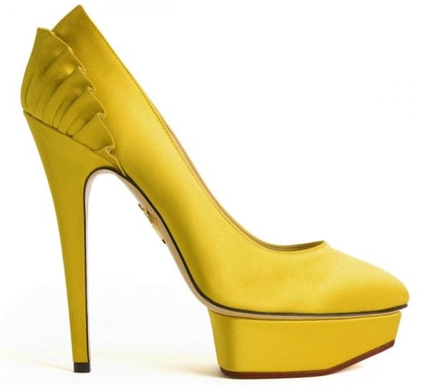 "Charlotte Olympia ""Paloma"" Satin Platform Pumps in Yellow"