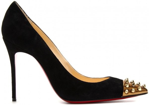 """Christian Louboutin """"Geo 100"""" Suede Pumps in Black"""