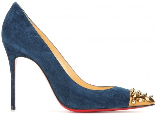 """Christian Louboutin """"Geo 100"""" Suede Pumps in Blue"""