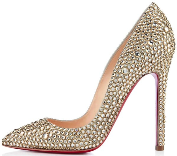 """Christian Louboutin """"Pigalle Strass"""" Pumps in Gold"""