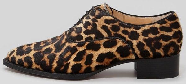 4bfe094f125f Christian Louboutin Zazou Pointed-Toe Leopard-Print Calf-Hair Derby Flats