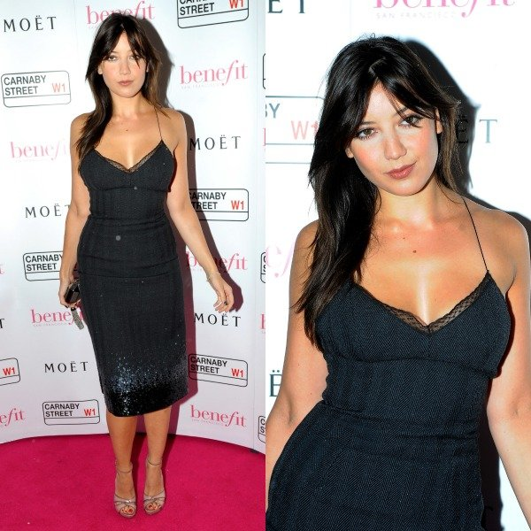 Daisy Lowe turning heads in a Louis Vuitton black slip dress and pink peep-toe sandals