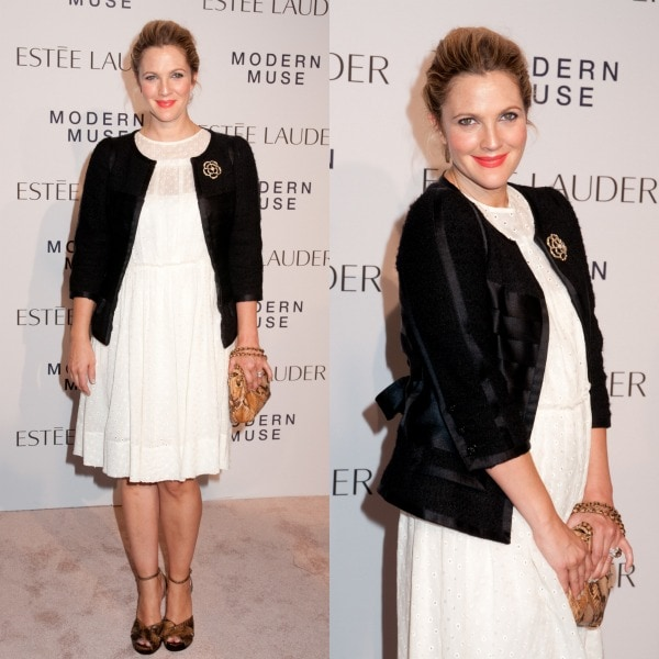 "Drew Barrymore looking chic and sweet in a Marc Jacobs Broderie Anglaise dress and Marc Jacobs peep-toe sandals at the Estee Lauder ""Modern Muse"" Fragrance Launch Party"