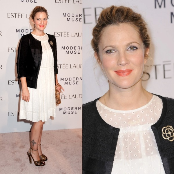 Drew Barrymore charmed everyone in a Marc Jacobs Broderie 'Anglaise' dress, a vintage Chanel jacket, and Marc Jacobs peep-toe snakeskin sandals