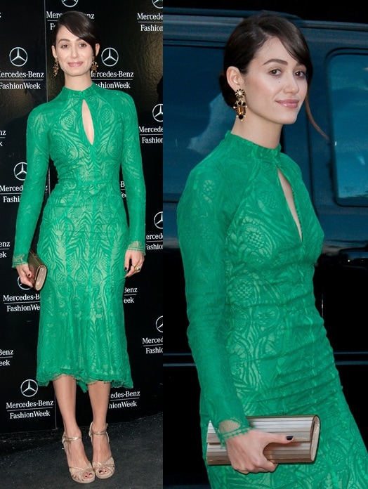 Emmy Rossum wearing Jimmy Choo with her beautiful green dress as she heads to the Monique Lhuillier presentation during New York Fashion Week in New York City