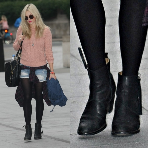 Fearne Cotton looking effortlessly cool in a pale pink sweater, frayed denim shorts, and black boots as she heads over to the BBC Radio 1 studios in London, United Kingdom, on September 23, 2013