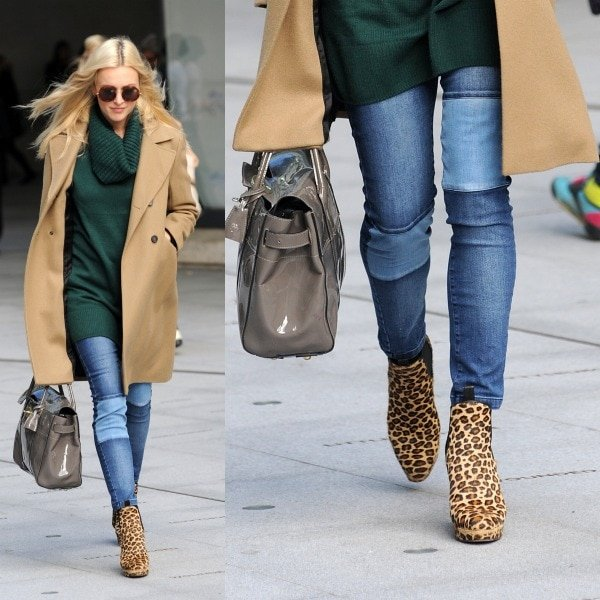 Fearne Cotton, in acamel-colored coat over a dark green sweater and skinny jeans, leaving the BBC Radio 1 studios in London, United Kingdom,on September 18, 2013