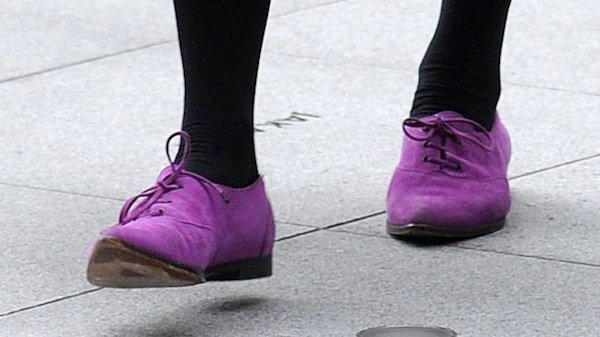 Fearne Cotton's purple lace-up shoes