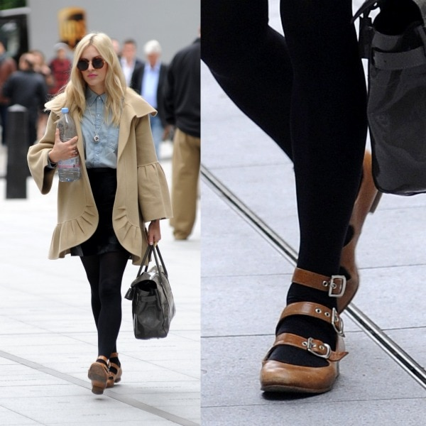 Fearne Cotton looking chic as she heads over to the BBC Radio 1 studios in a beige coat, a buttoned-up denim shirt, a leather skirt, black tights, and Vivienne Westwood three-strap sandals in London, United Kingdom, on September 20, 2013
