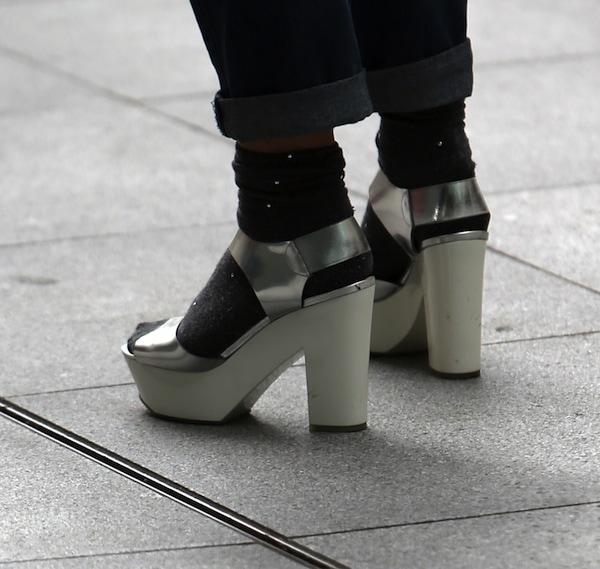 Fearne Cotton's silver platform sandals