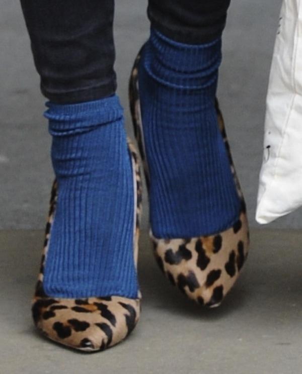 Fearne Cotton's leopard-print heels with blue socks
