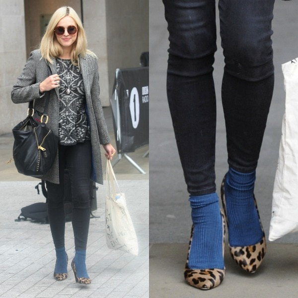 Fearne Cotton looking cheery in a gray ensemble and leopard-print heels with blue socks in London, United Kingdom, on September 25, 2013