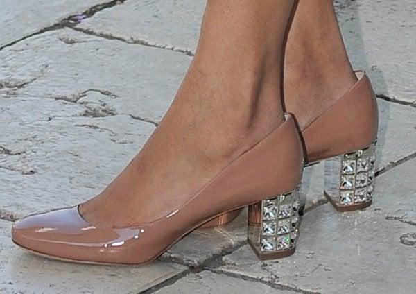 Freida Pinto shows off her feet in crystal-embellished block heels