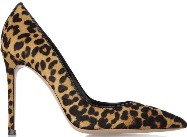 Gianvito Rossi Brown Leopard Print Calf Hair Pumps