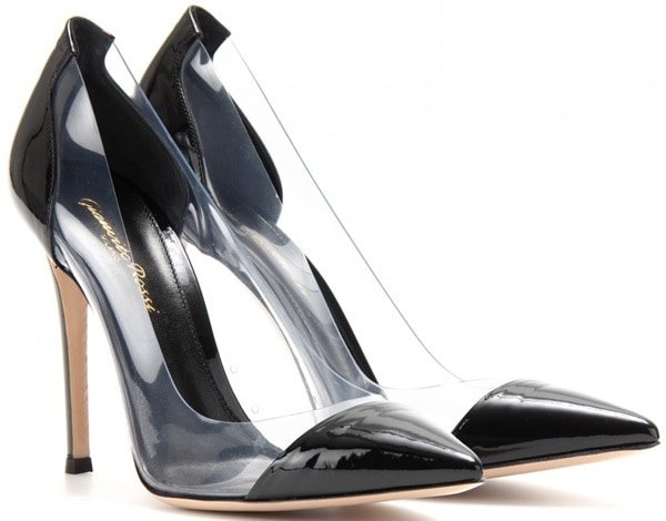 gianvitto rossi patent leather and transparent pvc pumps