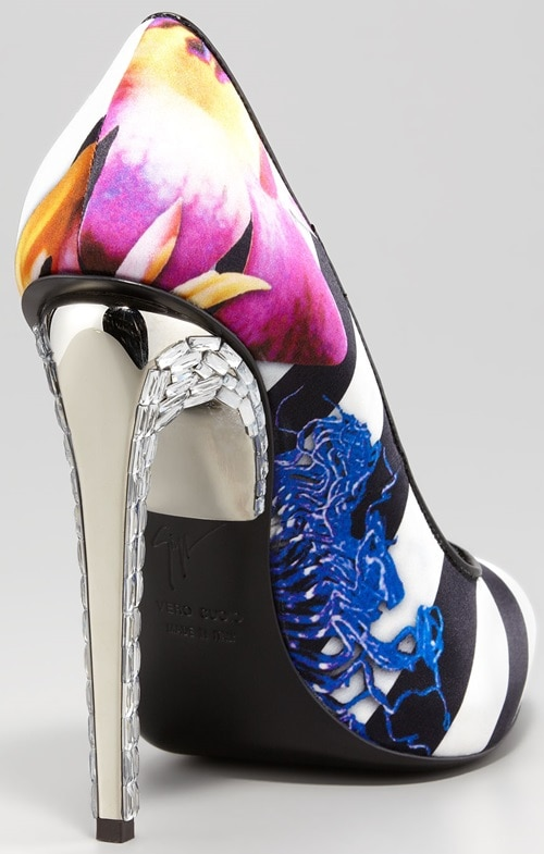 Giuseppe Zanotti Floral Crystal-Heeled Pumps