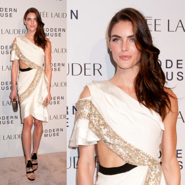 Hilary Rhoda was the definition of perfection in a Prabal Gurung ivory cutout dress that showed off a hint of creamy skin