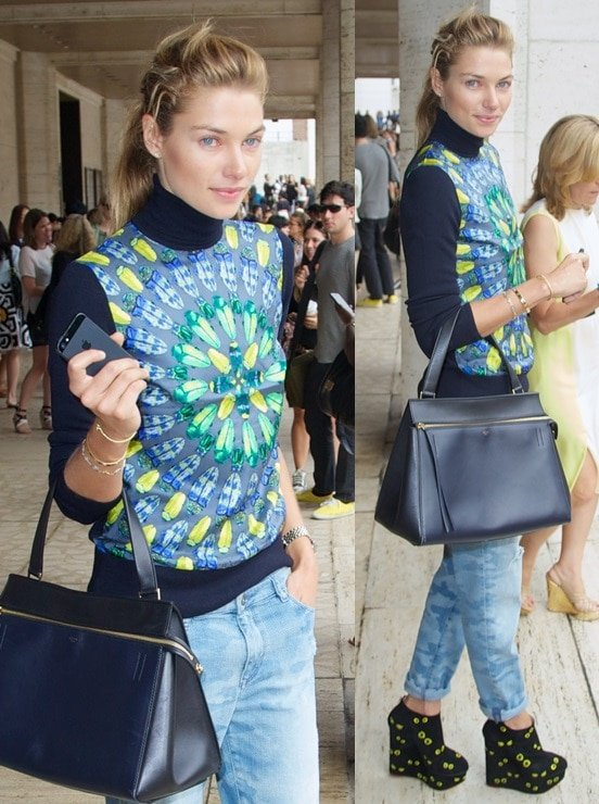 Model Jessica Hart being quirky with a pair of printed wedge booties for 2014 Mercedes-Benz Fashion Week in New York City on September 10, 2013