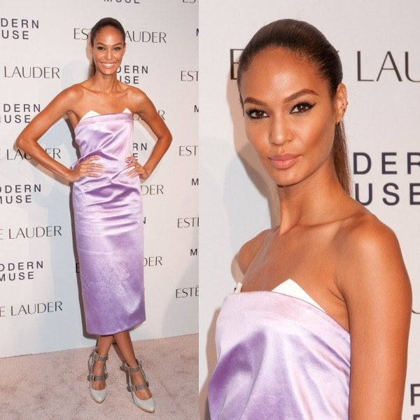 Joan Smalls was lovely in lavender as she stepped out in a strapless dress from the Spring 2014 collection of Prabal Gurung