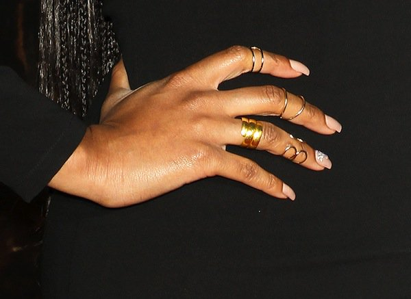 Keri Hilson's Biggie Band rings from Loud Love Jewelry that added stunning gold details to her black-and-gold ensemble
