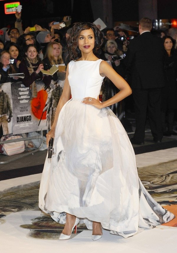 Kerry Washington in a winter white ensemble at the London premiere of Django Unchained held at theEmpire Leicester Square in London, England, on January 10, 2013