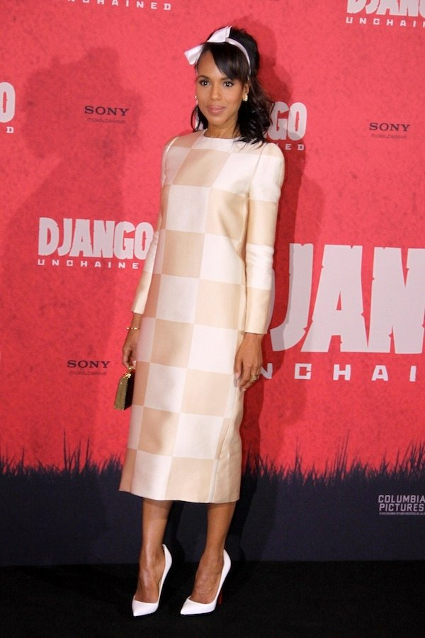 Kerry Washington in a '60s-inspired outfit at a photocall for Django Unchained heldat theHotel de Rome in Berlin, Germany, on January 8, 2013