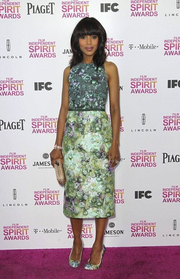 Kerry Washington looks stunning in floral prints at the2013 Film Independent Spirit Awards held at Santa Monica Beach in Santa Monica, California, on February 23, 2013