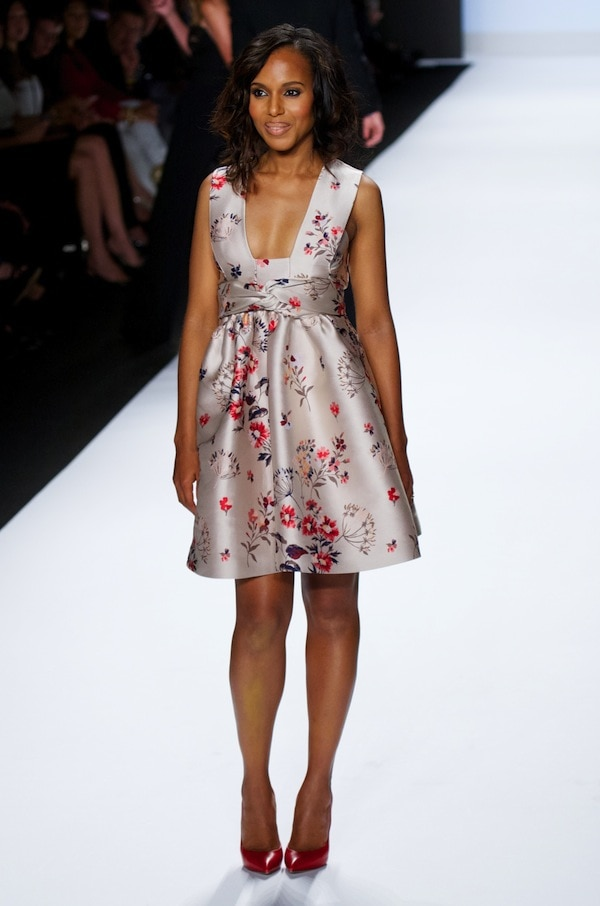 Kerry Washington making a grand entrance at the Project Runway Spring 2014 Fashion Show during the Mercedes-Benz New York Fashion Weekheld at The Theatre at Lincoln Center in New York City, New York, on September 6, 2013