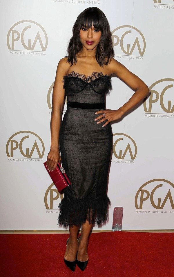 Kerry Washington looking sexy in black lace and tulle at the 24th Annual Producers Guild Awards held at the Beverly Hilton Hotel in Los Angeles, California, on January 26, 2013