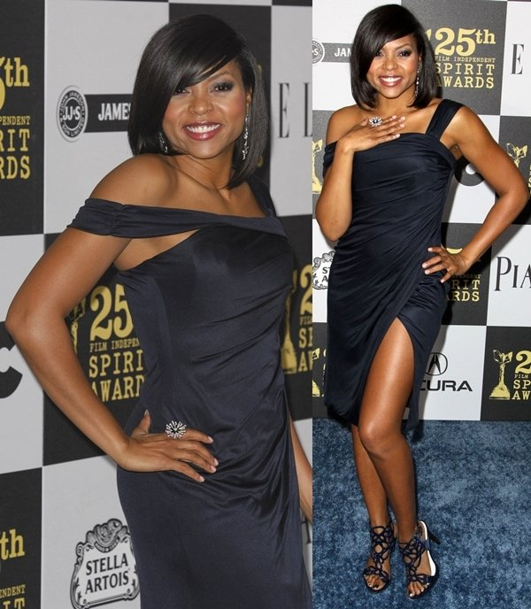 Taraji P. Henson in Kevan Hall dress and Cesare Paciotti shoes